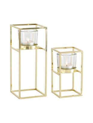 Windlichter-Set Tomba, 2-tlg., Windlicht: Glas, Gestell: Metall, beschichtet, Transparent, Messingfarben, Sondergrößen