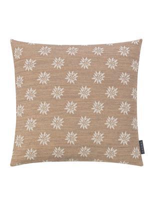 Kissenhülle Leonie mit Blumenmuster, Vorderseite: 31%Polyester, 29%Baumwo, Webart: Jacquard, Rückseite: Polyestersamt, Sandfarben, Beige, 50 x 50 cm