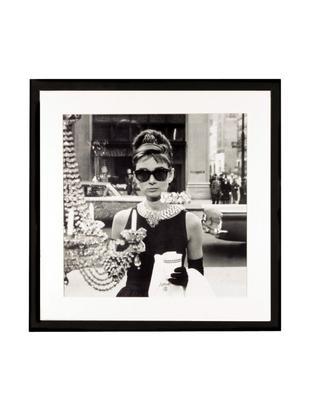 Oprawiony druk cyfrowy Hepburn, Czarny, biały, S 40 x W 40 cm