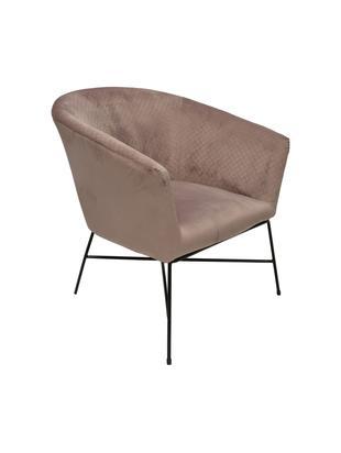 Fluwelen fauteuil Lady, Zitvlak: polyester fluweel, Poten: gelakt metaal, Lichtroze, B 76 x D 75 cm