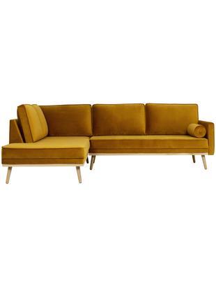 Sofa narożna z aksamitu Saint (3-osobowa), Tapicerka: aksamit (poliester) 3500, Stelaż: lite drewno dębowe, płyta, Musztardowy, S 243 x G 220 cm