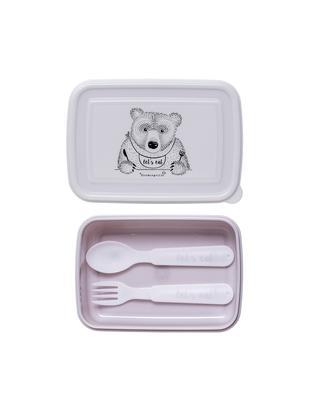 Set lunch box Kombi, 3 pz., Materiale sintetico, Viola, bianco, Larg. 15 x Alt. 5 cm