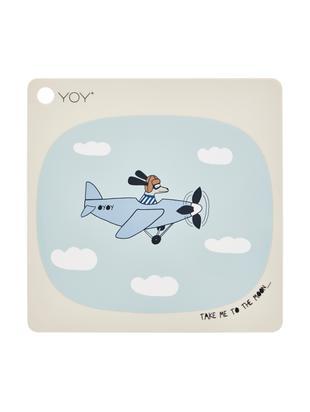 Podkładka Aeroplane, Silikon, Beżowy, niebieski, biały, czarny, brązowy, S 38 x D 38 cm