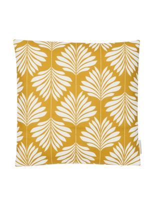 Federa arredo in lino in giallo/bianco Agga, 60% lino, 40% cotone, Giallo, bianco, Larg. 45 x Lung. 45 cm