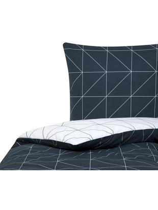 Renforcé-Wendebettwäsche Marla mit grafischem Muster, Webart: Renforcé Fadendichte 144 , Navyblau, Weiss, 135 x 200 cm
