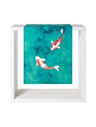 Runner con motivo a pesce Koi, Cotone, Turchese, rosso, bianco, Larg. 50 x Lung. 150 cm