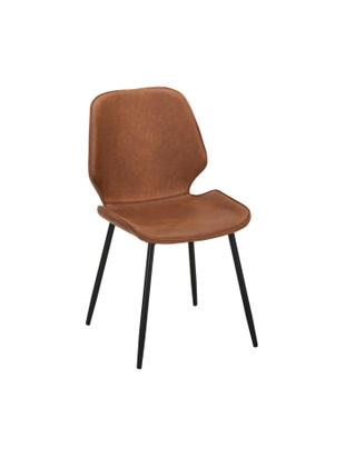 Imitatieleren gestoffeerde stoelen Louis, 2 stuks, Bekleding: imitatieleer (65% polyeth, Poten: gepoedercoat metaal, Bekleding: cognackleurig. Poten: mat zwart, B 44  x D 57 cm
