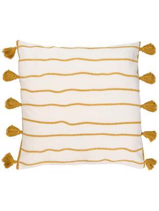 Kissenhülle Blanket mit Quasten, Baumwolle, Gelb, Weiß, 50 x 50 cm