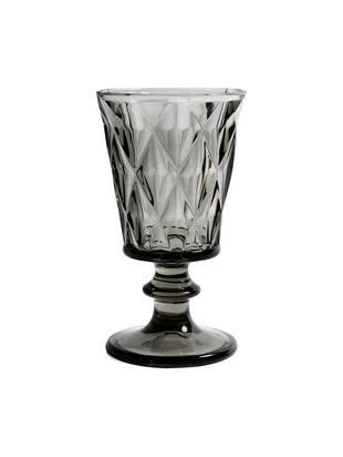 Vintage Weingläser Diamond mit Strukturmuster, 6er-Set, Glas, Rauchgrau, leicht transparent, Ø 9 x H 16 cm