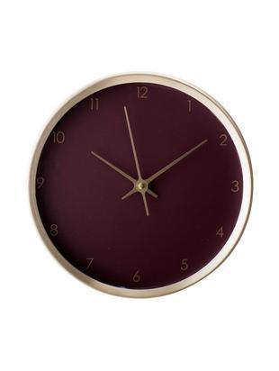 Orologio da parete Ola, Puntatore: alluminio, verniciato, Cornice: alluminio, verniciato, Quadrante: rosso bordeaux Puntatore: dorato  Cornice: dorato, Ø 25 x Prof. 5 cm