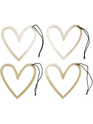 Komplet zawieszek dekoracyjnych Heart, 4 elem., Różowe złoto, czarny, S 8x W 9 cm