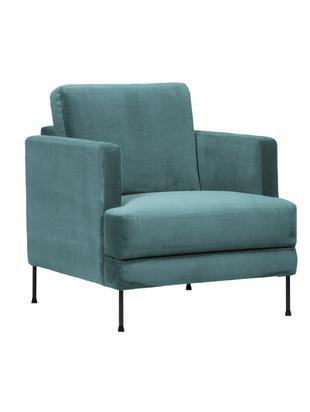 Samt-Sessel Fluente, Bezug: Samt (Polyester) 100.000 , Gestell: Massives Kiefernholz, Füße: Metall, lackiert, Samt Blau, B 76 x T 83 cm