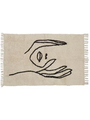 Vloerkleed Face met abstracte tekening, Katoen, Beige, zwart, 90 x 150 cm