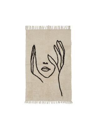 Tappeto con disegno astratto Face, Cotone, Marrone chiaro, nero, Larg. 90 x Lung. 150 cm (taglia XS)