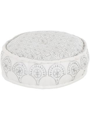Rond vloerkussen Casablanca met geborduurd patroon, Wit, zilverkleurig, Ø 60 cm