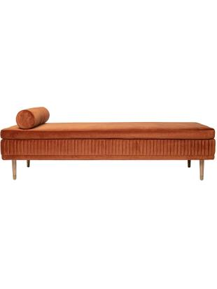 Samt-Daybed Hailey, Bezug: Polyestersamt, Füße: Eichenholz, Metall, Samt Rostbraun, B 190 x T 80 cm