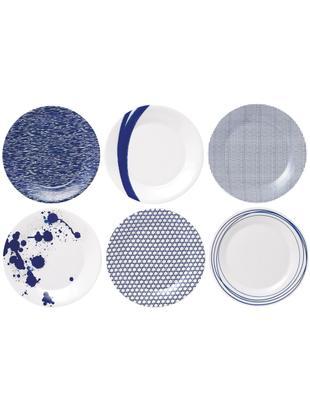 Talerz śniadaniowy Pacific, 6 elem., Porcelana, Biały, niebieski, Ø 23 cm