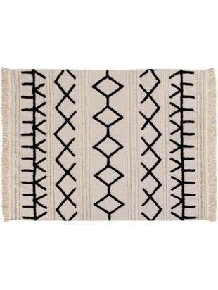Tappeto in cotone lavabile Berber, Vello: 60% cotone, 40% cotone ri, Retro: cotone riciclato, Marrone chiaro, nero, Larg. 120 x Lung. 160 cm (taglia S)