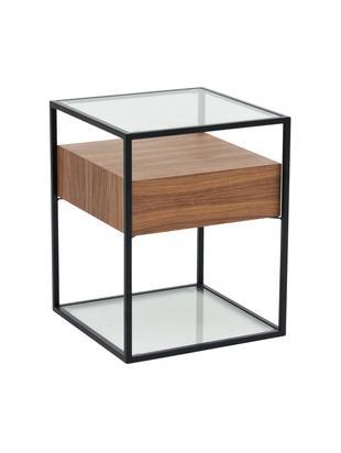Tavolino con cassetto Helix, Struttura: metallo verniciato a polv, Base e piano d'appoggio: vetro, Trasparente, nero, legno d'acacia, Larg. 45 x Alt. 54 cm