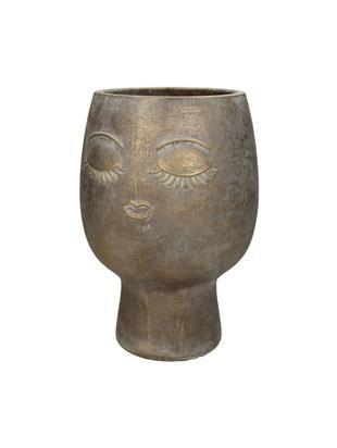 Portavaso Consi, Cemento, rivestito, Ottonato, Ø 18 x Alt. 25 cm