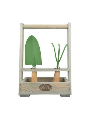 Przybornik ogrodowy Ricco, 3 elem., Drewno, metal, Zielony, szary, S 27 x W 36 cm