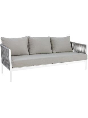 Divano da giardino Florencia (3 posti), Struttura: alluminio verniciato a po, Seduta: poliestere, Grigio, bianco, Larg. 220 x Prof. 85 cm