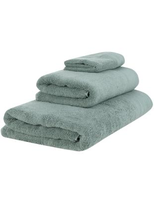 Handtuch-Set Premium mit klassischer Zierbordüre, 3-tlg., Salbeigrün, Sondergrößen