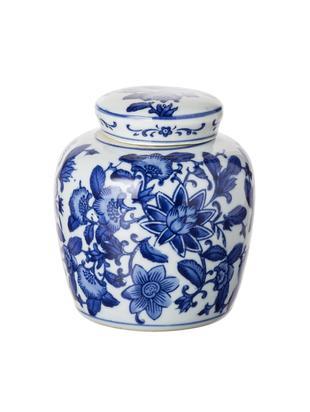 Vaas met deksel Annabelle uit porselein, Porselein, Blauw, wit, Ø 11 cm