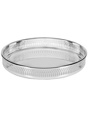 Okrągła taca z lustrem Delphi, Stal posrebrzana, Srebrny, Ø 30 cm