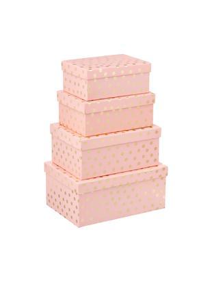 Set confezioni regalo Vintin, 4 pz., Cartone, Rosa, dorato, Diverse dimensioni