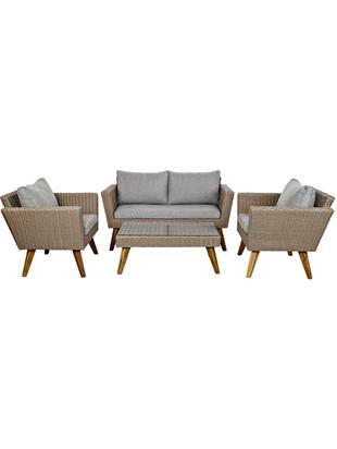 Set lounge de exterior Minia, 4pzas., Estructura: poliratán, Gris, Tamaños diferentes