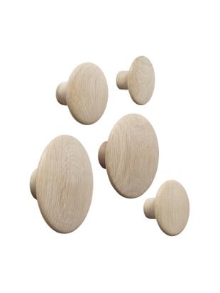 Set di 5 ganci da parete The Dots Wood, Legno di quercia finitura naturale, Quercia, Diverse dimensioni