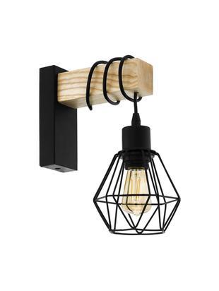 Wandlamp Townshend, Gecoat staal, hout, Zwart, houtkleurig, 14 x 25 cm