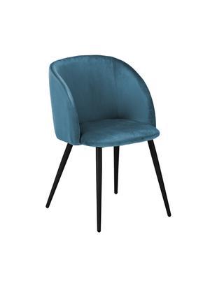 Samt-Polsterstühle Yoki, 2 Stück, Bezug: Samt (Polyester) 20.000 S, Beine: Metall, pulverbeschichtet, Bezug: Blau Beine: Schwarz, matt, B 53 x T 57 cm