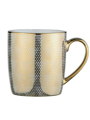 Set tazze Dots, 4 pz., Porcellana, Bianco, dorato, Ø 9 x A 10 cm