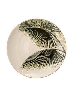 Piatto da colazione Aruba, 4 pz., Gres, Bianco crema, verde, Ø 20 cm