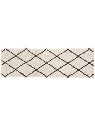 Handgetufteter Läufer Naima, Flor: 100% Polyester, Beige, Schwarz, 80 x 250 cm