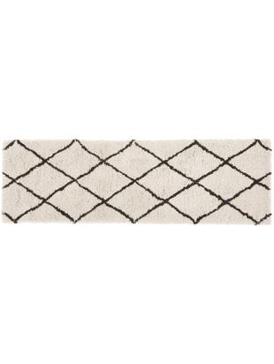 Alfombra artesanal Naima, Parte superior: 100%poliéster., Reverso: 100%algodón, Beige, negro, An 80 x L 250 cm