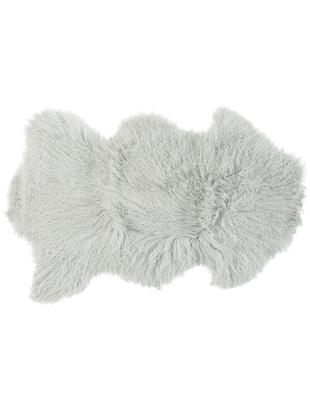 Pelle di pecora a pelo lungo Curly, Vello: 100% pelle di pecora, Retro: 100% pelle, conciata senz, Verde menta, Larg. 60 x Lung. 80 cm