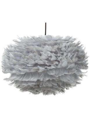 Lámpara de techo grande de plumas Eos, Pantalla: plumas de ganso, acero, Anclaje: plástico, Gris claro, Ø 45 x Al 30 cm