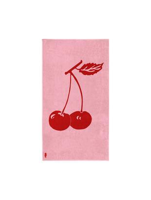 Ręcznik plażowy Cherry, Welur (bawełna) Średnia gramatura, 420g/m², Różowy, czerwony, S 100 x D 180 cm
