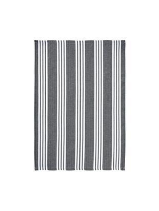 Canovaccio in grigio/bianco rigato Loft, 3 pz., Cotone, Nero, Larg. 50 x Lung. 70 cm