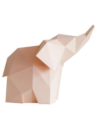 Lámpara de mesa LED Baby Elephant, kit de montaje, Pantalla: papel, 160 g/m², Rosa, An 23 x Al 24 cm