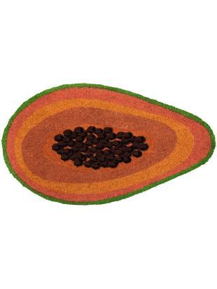 Fußmatte Papaya, Oberseite: Kokosfaser, Unterseite: PVC, Orange, Braun, Grün, 40 x 70 cm