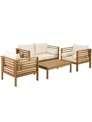 Garten-Lounge-Set Bo, 4-tlg., Bezüge: BeigeGestelle: Akazienholz, Verschiedene Grössen