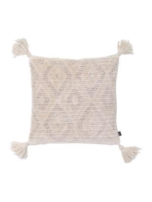 Boho-Kissenhülle Zoya mit Quasten, 70% Baumwolle, 30% Polyester, Cremeweiß, Beige, 45 x 45 cm