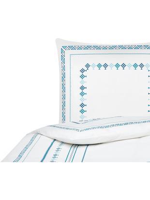 Perkal-Bettwäsche Indira im Boho Style, Webart: Perkal Fadendichte 180 TC, Weiss, Blau, 135 x 200 cm