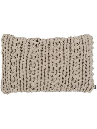 Cuscino in cucitura a maglia Chunky, con imbottitura, Rivestimento: acrilico, Beige, Larg. 40 x Lung. 60 cm