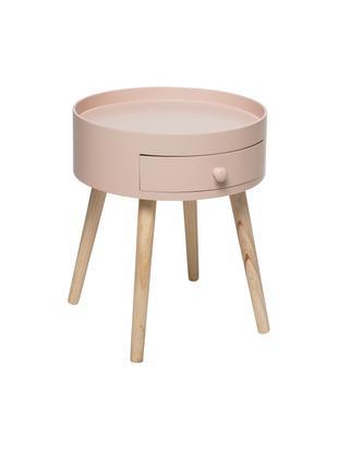 Stolik pomocniczy z małą szufladą First, Korpus: płyta pilśniowa średniej , Nogi: drewno dębowe naturalne, Brudny różowy, Ø 38 x W 45 cm