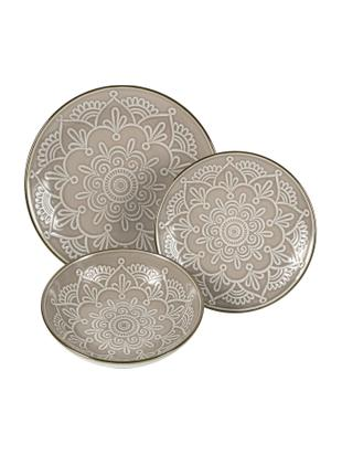 Set piatti Baku, 6 persone (18 pezzi), Dolomite, Greige, Diverse dimensioni